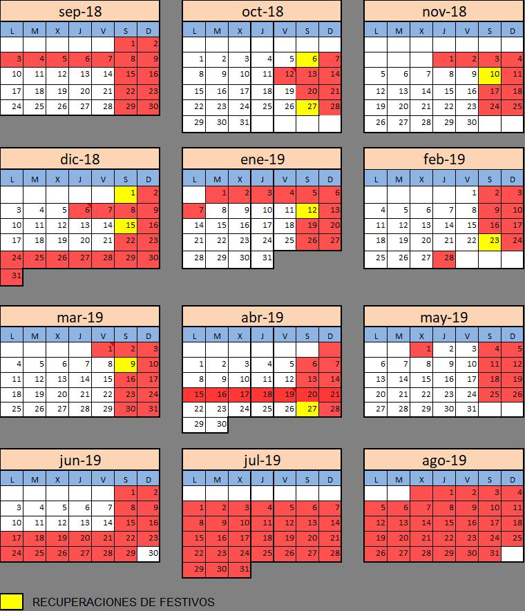 Calendario Aloha Mental 2018-19