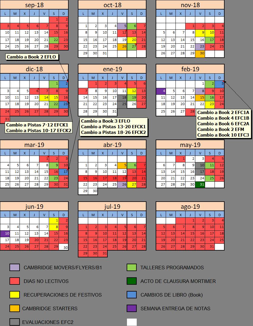 Calendario MortimerEnglish 2018-19