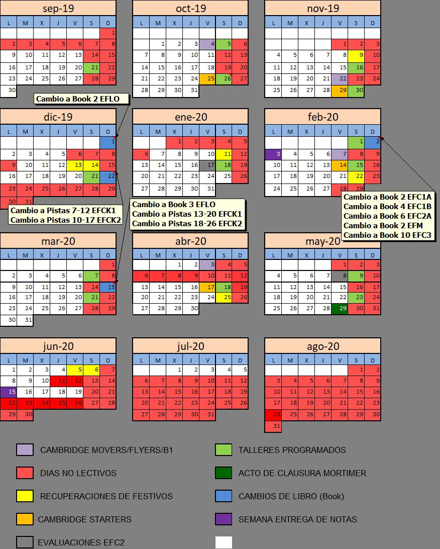 Calendario Mortimer 2019-20
